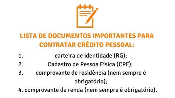 Lista de documentos para contratar crédito pessoal
